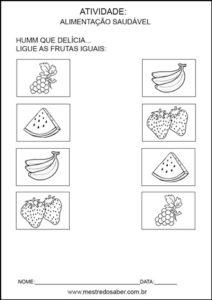 Projeto alimentação saudável educação infantil - Ligue iguais