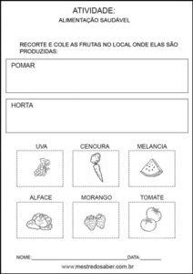 Projeto alimentação saudável educação infantil - Pomar e horta
