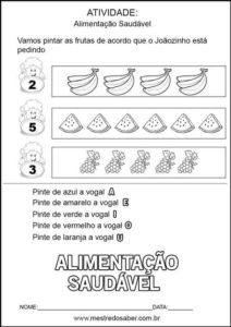 Projeto alimentação saudável educação infantil - Pinte as vogais