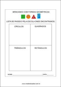 Formas geométricas educação infantil - Passeio pela escola