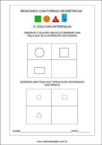 formas geométricas educação infantil - jogo das diferenças