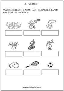 Atividade de esporte sobre olimpíadas Esporte