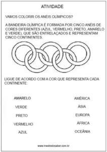 Atividade para imprimir sobre Olimpíadas ligue