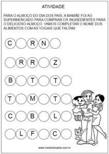 Completar as vogais dia dos pais