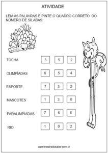 Pinte o número correto Atividade de Olimpíadas