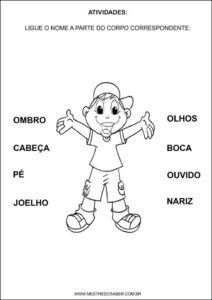 Sequência Didática esquema corporal na educação infantil - Ligue a parte do corpo correspondente