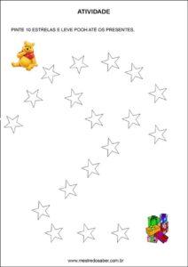 Atividades contando com o ursinho pooh - pinte 10