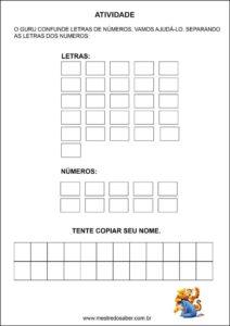 Atividades contando com o ursinho pooh - separar números e letras