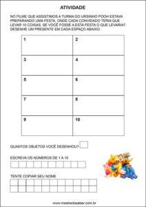 Atividades contando com o ursinho pooh - desenhe