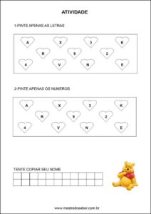 Atividades contando com o ursinho pooh - Pinte letras e números