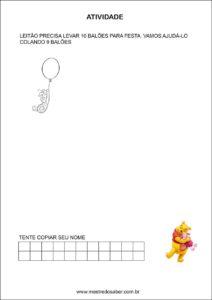 Atividades contando com o ursinho pooh - Desenhe termo a termo